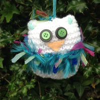 Knitted owl , hanging decoration, new home , Christmas tree hanging , white,