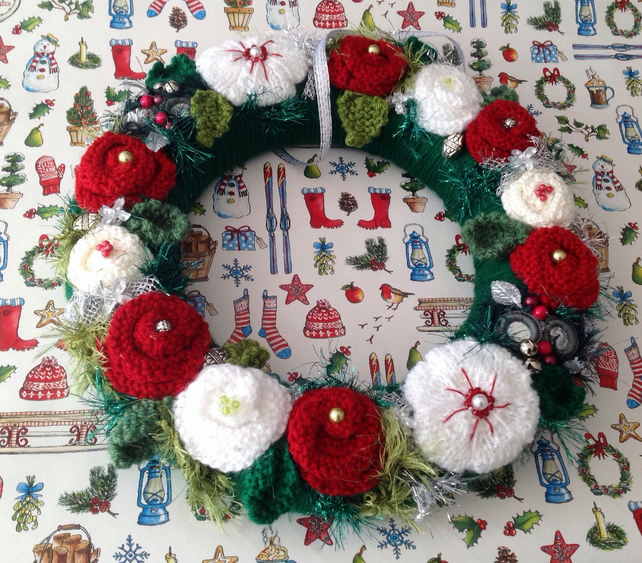 Wreath, knitted flowers in red, white cream,Christmas,advent, door hanging ,