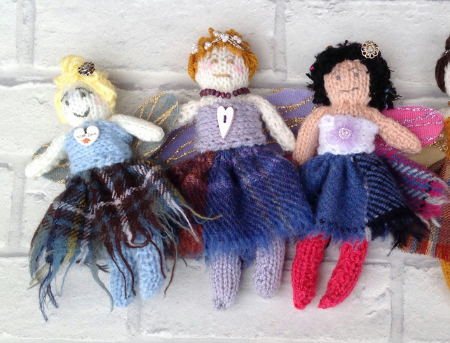 Tartan fairy, Christmas fairy, knitted, gift for home, Scottish doll, folk art,