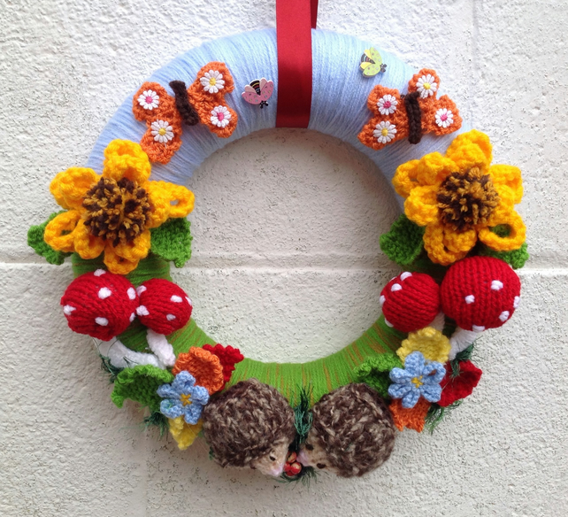 Knitted easterwreath,  woodland, hand knitted, wall, door hanging, new home