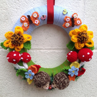 Knitted  autumn, woodland, hand knitted, wall, door hanging, new home, Christmas