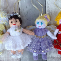 Knitted Christmas  fairy, scarlet,purple