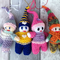 Knitted  elves, gnomes, pixies, woodland, hanging decoration, Christmas, new bor