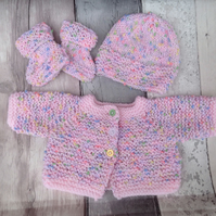 Premature knitted pink  baby  set, cardigan, bootees and hat,