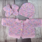 Premature knitted  baby  set, cardigan, bootees and hat,