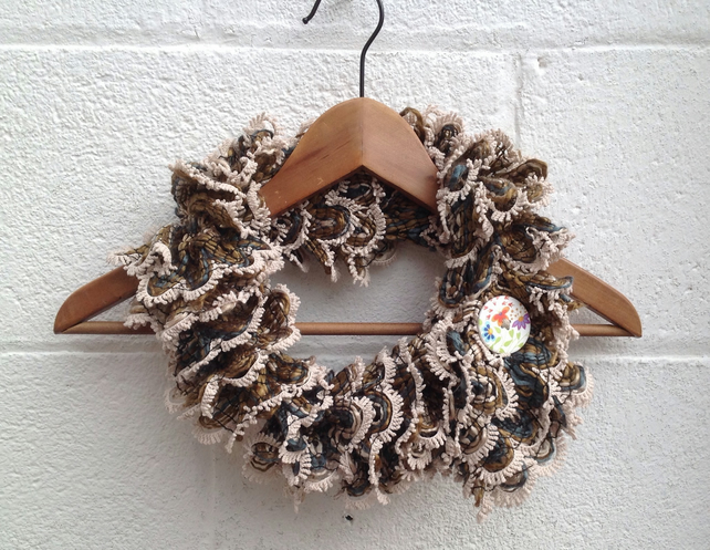 Knitted short scarf, ladies, brown beige,with button, infinity scarf, loop,