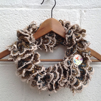 Knitted frilly short scarf, ladies, brown beige,with button, infinity scarf,