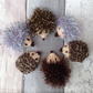 Knitted hedgehogs, mini hedgehogs, glitzy Christmas, pair of hedgehogs