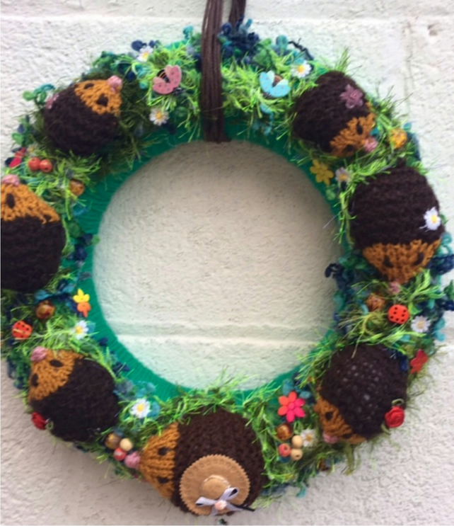 Hedgehog wreath, Woodland, autumn, door wreath, door hanging, nursery