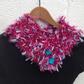Knitted short  cowl, collar, scarflette, pink button, infinity scarf, loop,