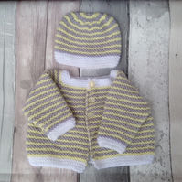 Knitted baby cardigan and hat, lemon, grey new born gift, unisex, gender neutral