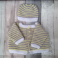 Knitted baby cardigan and hat, lemon, grey new born gift