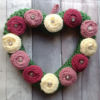 Heart wreath, knitted roses, shabby chic, anniversary, funeral, bedroom dec