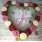 Heart wreath, knitted roses, pink, Christmas , anniversary, funeral