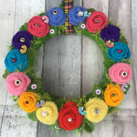Flower  wreath, knitted,  rainbow new home gift, vintage wedding, bedroom d