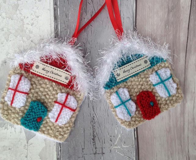 Hand knitted Christmas decoration,hanging house, knitted decoration, gift tag