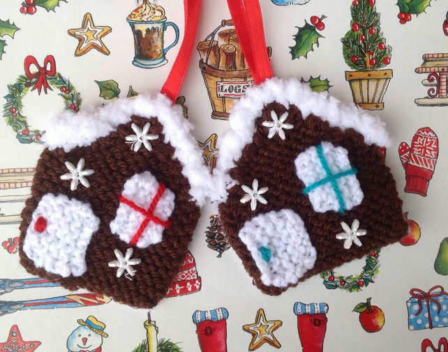 knitted christmas tree decorations gingerbread houses hanging decoration