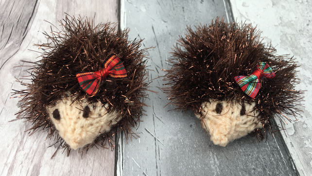 Knitted  mini hedgehogs, Mother's Day , pair of hedgehogs. Woodland