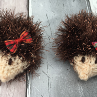 Knitted  mini hedgehogs,  Christmas,glitzy tinsel , pair of hedgehogs. Woodland