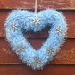 Heart wreath,Christmas,  blue sparkly, window hanging, wall hanging,