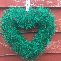 Heart wreath,Christmas, green tinsel ,sparkly, window hanging, wall hanging,