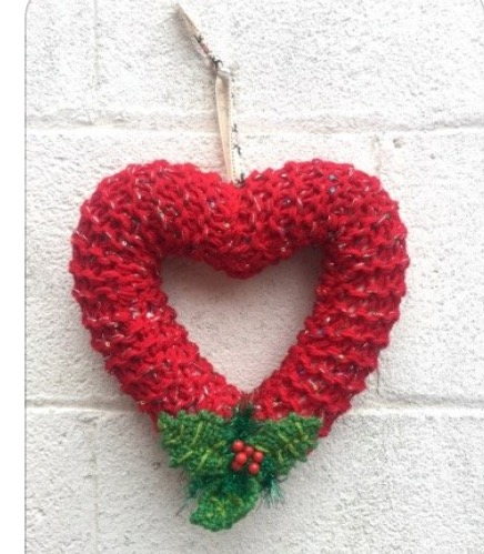 Heart wreath,Christmas, knitted red, window hanging, wall hanging,