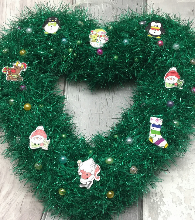 Christmas Heart Wreath.Heart Wreath Christmas Green Tinsel Sparkly Window Hanging Wall Hanging