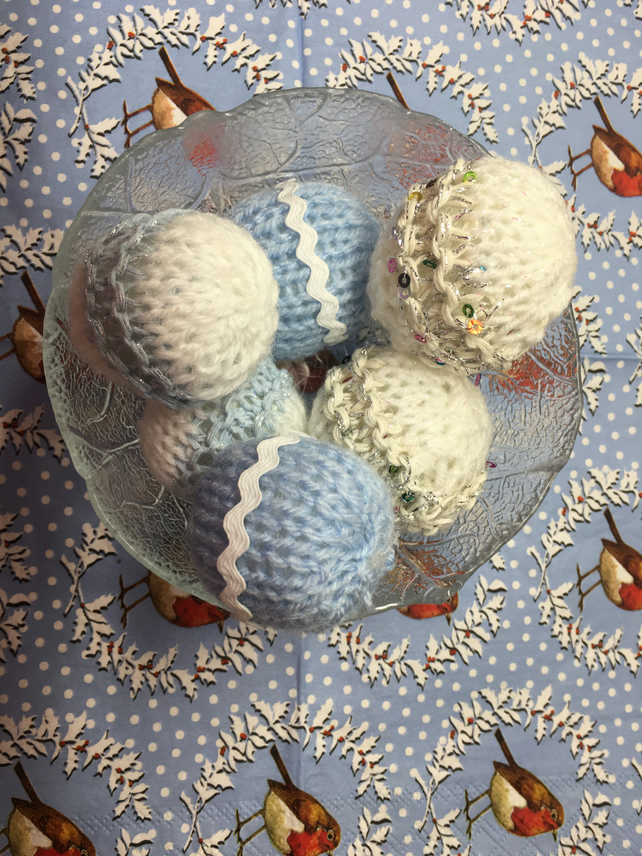 Christmas baubles,  knitted mini baubles set of 6