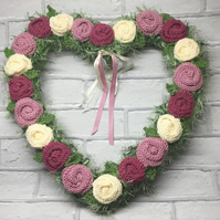 knitted heart wreath  , pink roses, heart, wedding,