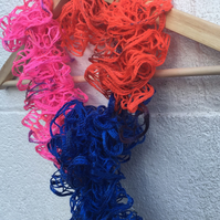 Knitted multi coloured scarf, frilly,  mother's day ruffled wool,summer, blue