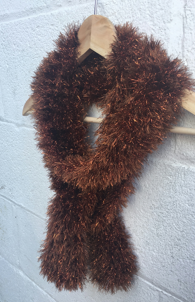 Knitted brown scarf, glittery tinsel yarn , mother's day gift