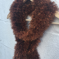 SALE  Knitted  Brown scarf glittery tinsel yarn,skinny scarf, Mother's Day gift