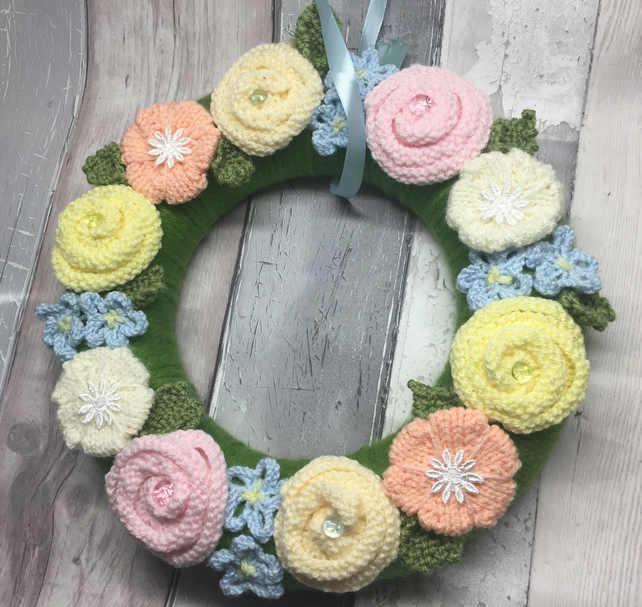 Knitted flowers wreath, Vintage  wedding, Mother's Day, Easter, spring