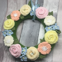 Knitted flowers wreath, pastel , Vintage wedding, new home gift, new born baby,,
