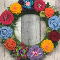 Knitted flower wreath, spring, Easter, Mother's Day