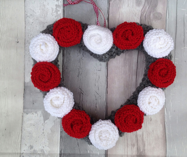 Heart wreath,  knitted roses, easter , anniversary, funeral, bedroom dec