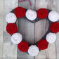 Heart wreath, knitted roses,valentines day, anniversary, funeral, bedroom dec