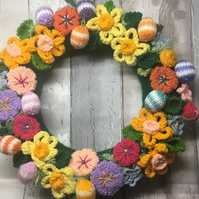 Knitted easter wreath, decoration, eggs, daffodils, gift