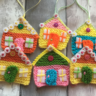 Hanging  easter  tree decorations,knitted house, spring tree decorations,
