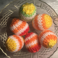 Easter eggs, knitted eggs, set of 6  Easter gift, spring
