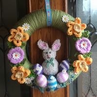 knitted  easter bunny wreath, spring, daffodils door wreath