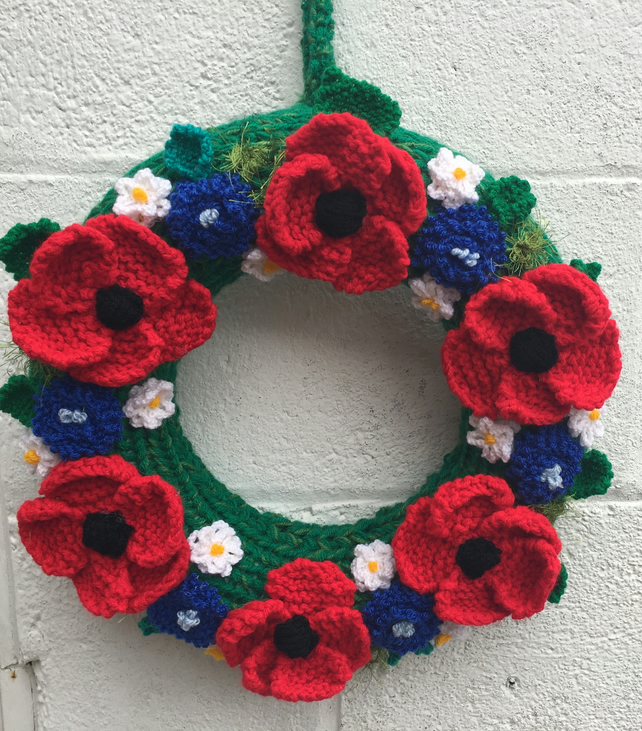 Knitted summer wreath, poppies, daisies,  door hanging, vintage wedding