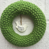 Knitted wreath with metal bird decoration, summer ,  new home gift,