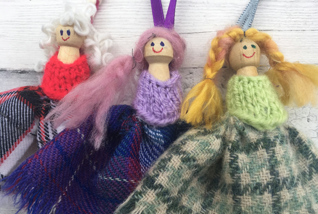 Decorative peg  dolls, knitted, tweed,  gift for home, Scottish doll, folk art,
