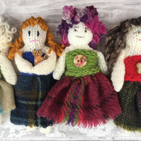 Decorative dolls, knitted, tweed,  gift for home, Scottish doll, folk art,
