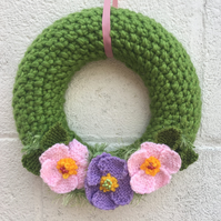 Knitted wreath, Easter with  spring roses  new home gift,