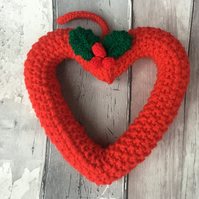 Christmas heart wreath, window hanging, wall hanging,