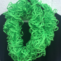 Knitted lime green frilly cowl, scarf, snood , Christmas scarf, ladies, party