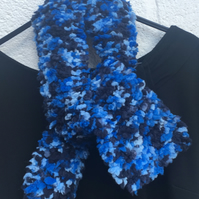 SALE  Short blue knitted scarf, Mother's Day gift