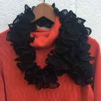 Mother's Day gift Knitted black frilly scarf, evening scarf, lace